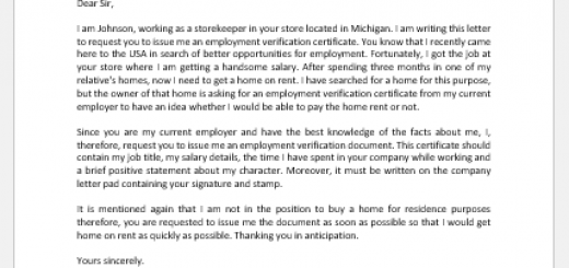 Request Letter to Boss for Employment Verification Document