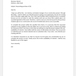 Request Letter to Boss for Purchase of Material