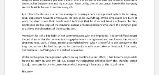 Resignation Letter for Poor Management System