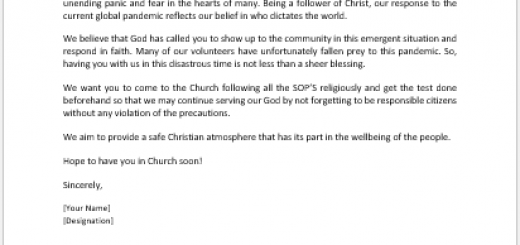 Church Volunteer Welcome Letter