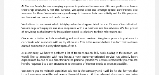 Letter of Introduction to Bank