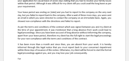 Letter of Non-Compliance to Employee