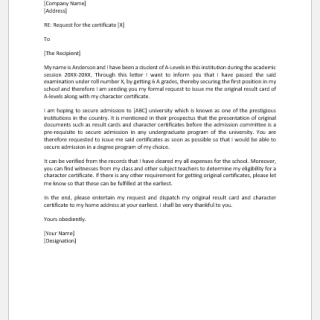 Request Letter to Principal for Original Certificate