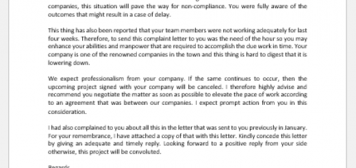 Complaint Letter for Delay in Project Completion