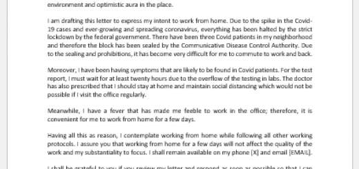 Letter of intent to work from home