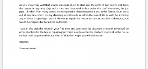 Letter to Landlord Requesting Necessary Repairs