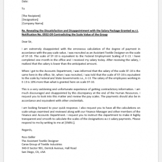 Letter to Show Disappointment with Salary