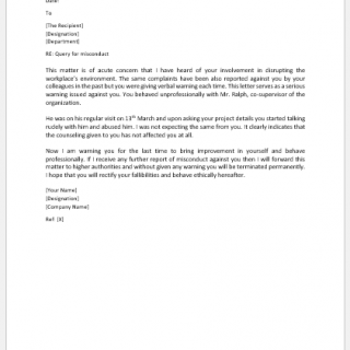Query Letter to Employee for Misconduct