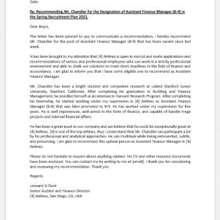 Recommendation Letter for Travel Agency