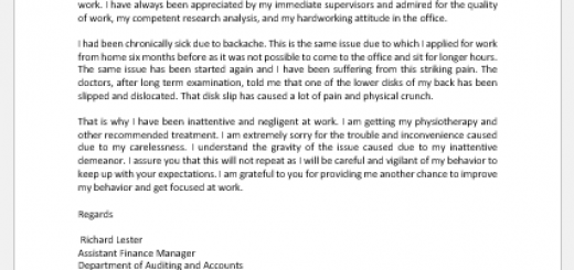 Response Letter to Poor Performance at Work
