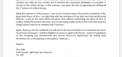 Thank You Letter for Work Completion Certificate