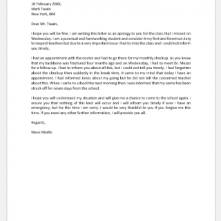 Apology Letter for Missing a Class