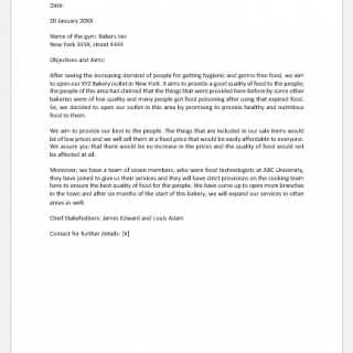 Bakery business proposal letter