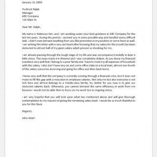 Complaint Letter for Salary Deduction