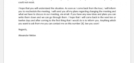 Email to reschedule an event