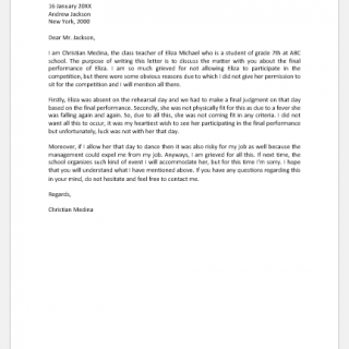 Explanation Letter for not allowing Participation in Competition