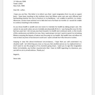Immediate Resignation Letter due to Health Reason