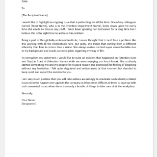 Letter of Concern about Colleague's Behavior