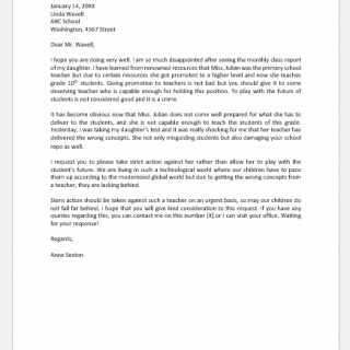 Letter to School about Teacher's Bad Performance