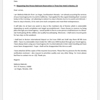 Letter to Travel Agency for Hotel Booking