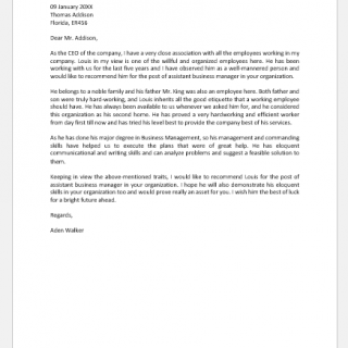 Recommendation Letter for an Employee to Organization