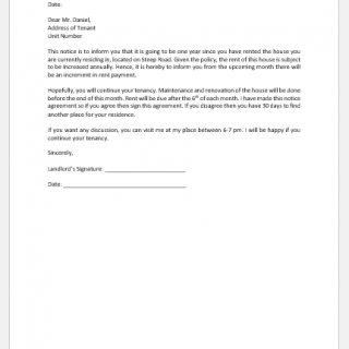 Rent Extension Letter to Tenant from Landlord