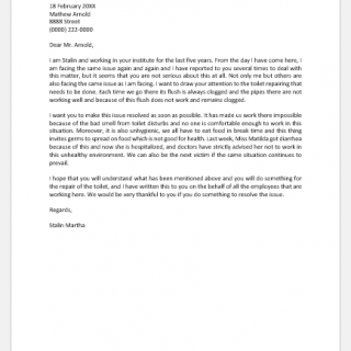 Request letter for toilet repairing
