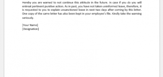 Short Attendance Notice to Employee