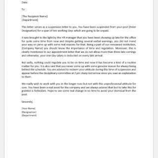 Suspension letter to employee for indiscipline