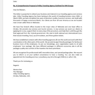 Travel Agency Proposal Letter for Client