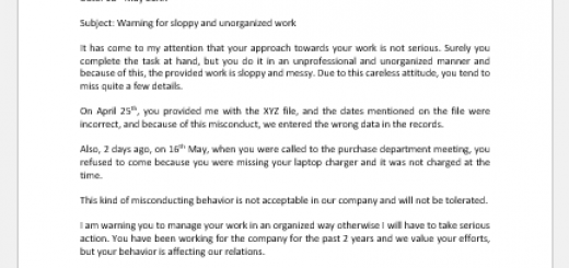 Warning Letter for Sloppy and Unorganized Work
