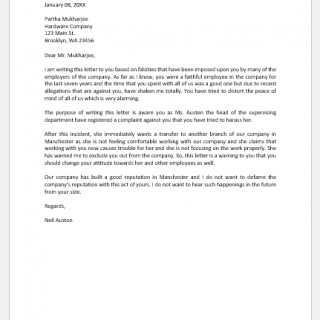 Warning letter to employee for harassment