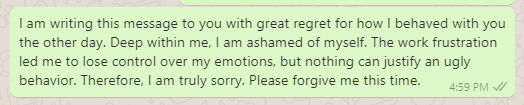 Apology Message for Disrespectful Behavior