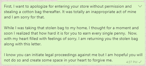 Apology letter for stealing from the store