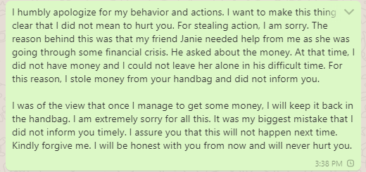 Apology message to mom for stealing