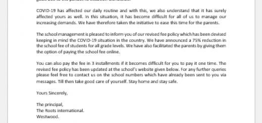 COVID-19 School Fee Payment Policy Letter to Parents