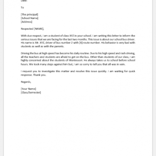 Complaint Letter to Principal about School Bus Driver