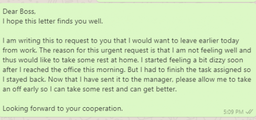 Early leave messages to boss