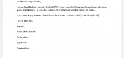 Employment Verification Letter to Whom It May Concern