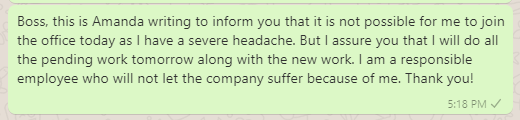 Headache leave message for office