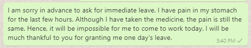 Leave Message for Stomach Upset