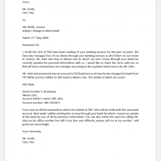 Letter to Bank for Change in Client Detail