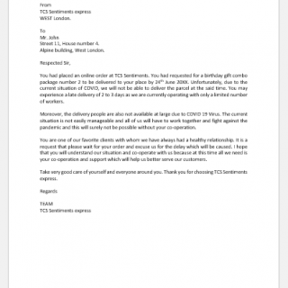Letter to Inform Customer for Late Delivery due to COVID