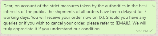 Shipping Delay due to COVID Messages