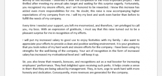 Thank you letter for salary increase