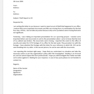 Theft Report Letter to HR
