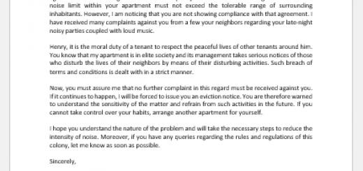 Warning Letter to Tenant Regarding Noice