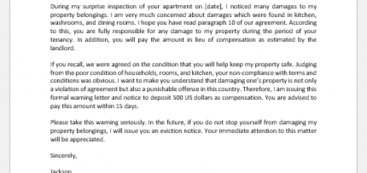 Warning Letter to Tenant for Property Damage