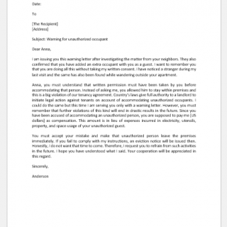Warning Letter to Tenant for Unauthorized Occupant