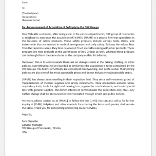 Acquisition Announcement Letter to Customers